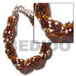 Natural 12 Rows Brown/white Twisted Glass Beads