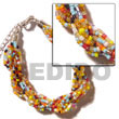Natural 12 Rows Multicolored Twisted Glass Beads
