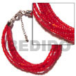 Natural 6 Rows Red Multi Layered Glass Beads