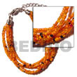 6 Rows Orange Multi Layered Glass Beads