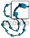 Natural Blue Wood Beads / Coco Square Cut