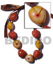 Wooden Imitation Kukui Nut Choker / Red