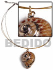 3 rows golden cable wire with land snail pendant