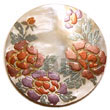 Natural Round 40mm Hammershell W/ Handpainted Design-floral/embossed Pe