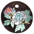 Natural Round 40mm hammer shell Velvet BFJ5335P Shell Necklace Hand Painted Pendant