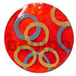 Natural Round Red 50mm Capiz Shell W/ Handpainted