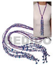 Natural Scarf Necklace - 6 Rows Pink/purple Cut